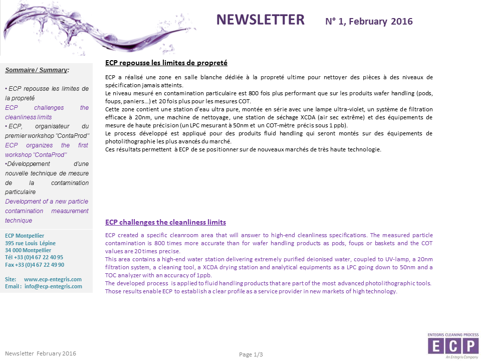 NEWSLETER N°1 2016 S1